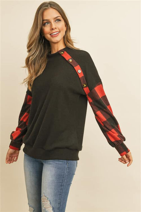 Plaid Button Detailed Top