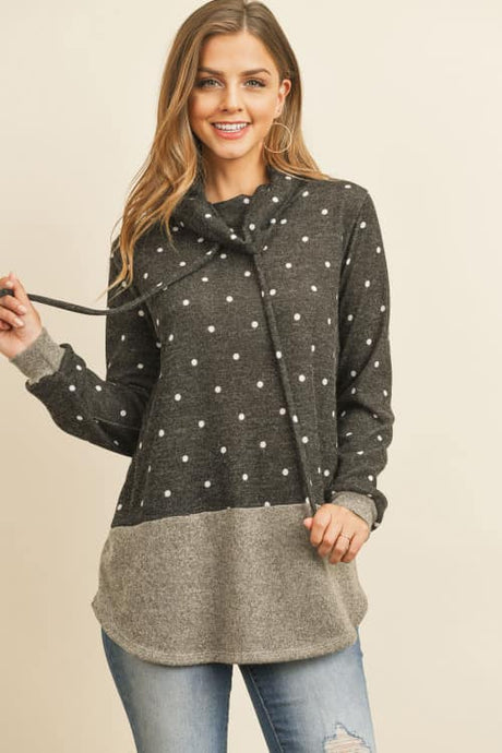 Cowl Neck Polka Dot Top