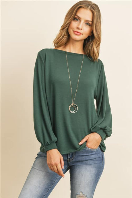 Green Puffed Sleeve Top