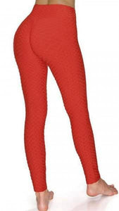 Red Women's Brazilian Body Sculpting Full Length Leggings.