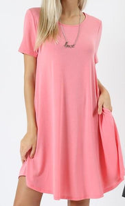 Rose Pink-A-LINE DRESS WITH SIDE POCKETS