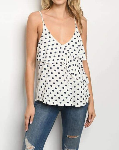 White and Navy Polka Dot Top