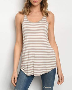 Sleeveless Striped Tank-Taupe