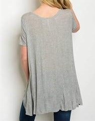 Gray Jersey Knit Tee