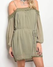 Load image into Gallery viewer, Olive Green Off The Shoulder Dress
