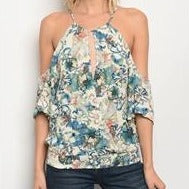 Cream and Blue Floral Top