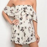 Cream and Floral Romper