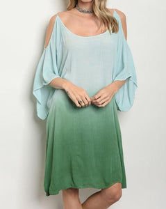 Mint and Lime Green Tie Dye Dress/Cover Up