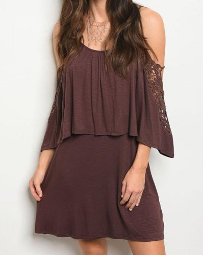 Brown Cold Shoulder Dress