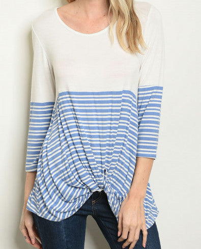 Ivory and Blue Striped Top