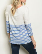 Load image into Gallery viewer, Ivory and Blue Striped Top