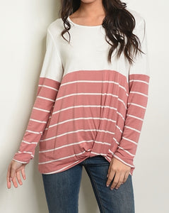 Ivory and Blush Striped Tunic