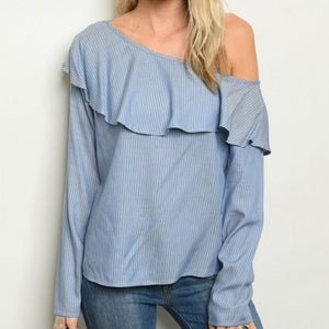 Blue Stripped Off the Shoulder
