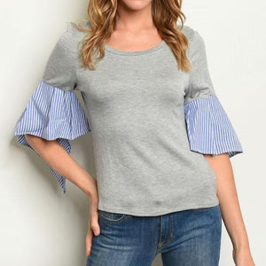 Grey and Blue stripped top