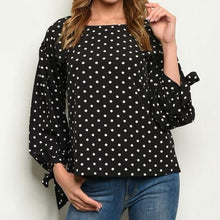 Load image into Gallery viewer, Black and White Polka Dot Top