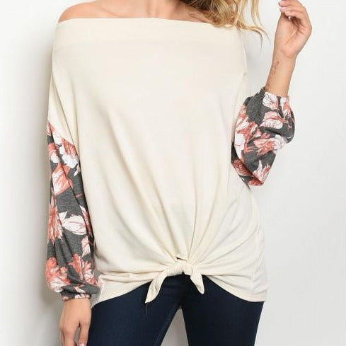Cream Off The Should Floral Sleeve