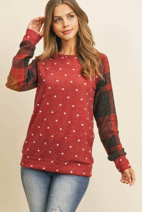 Patched Polka Dot Red Top
