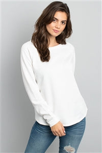 Solid White Terry Fleece Lined Top