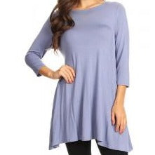 Laura-Powder Blue Tunic Pocket Top