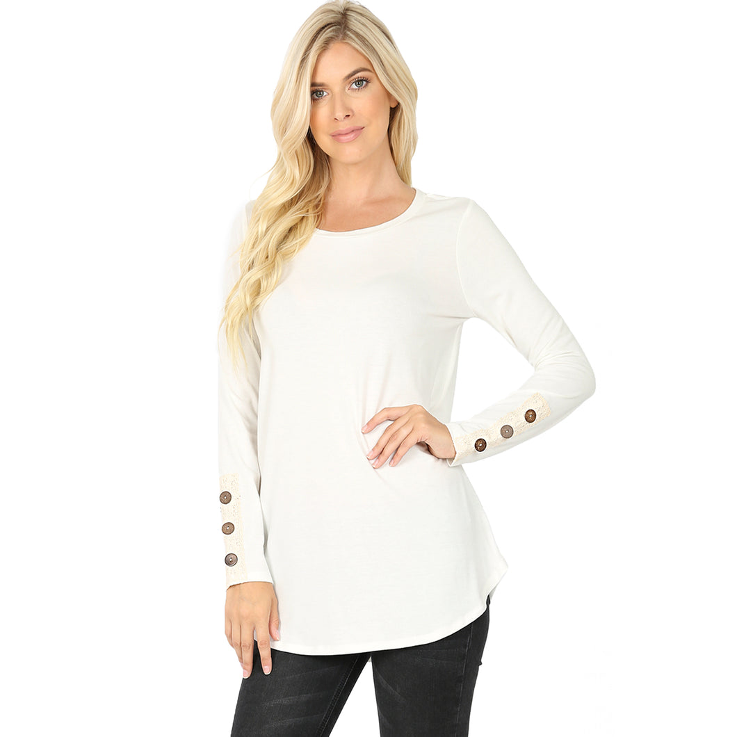 Ivory Lace trim with Button Sleeve Top