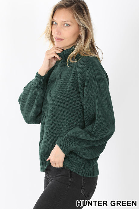 Hunter Green Chunky Turtleneck Sweater