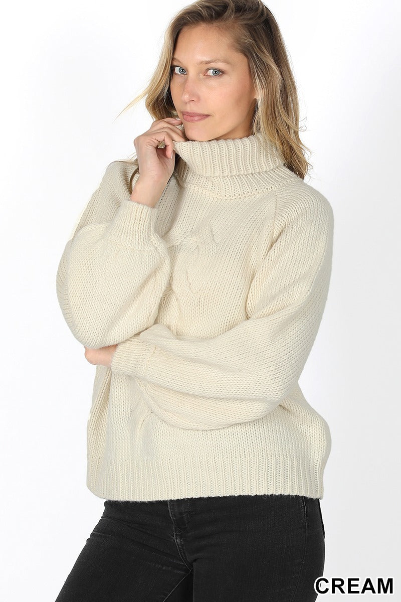 Chunky Cable Knit Sweater Ivory