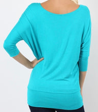 Load image into Gallery viewer, Teal Scoop Neck Dolman