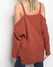 Load image into Gallery viewer, Rust Cold Shoulder Sweater