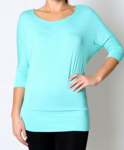 Mint Scoop Neck Dolman
