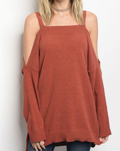 Rust Cold Shoulder Sweater