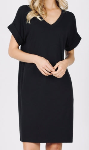Black Rolled Sleeve V-Neck Dress