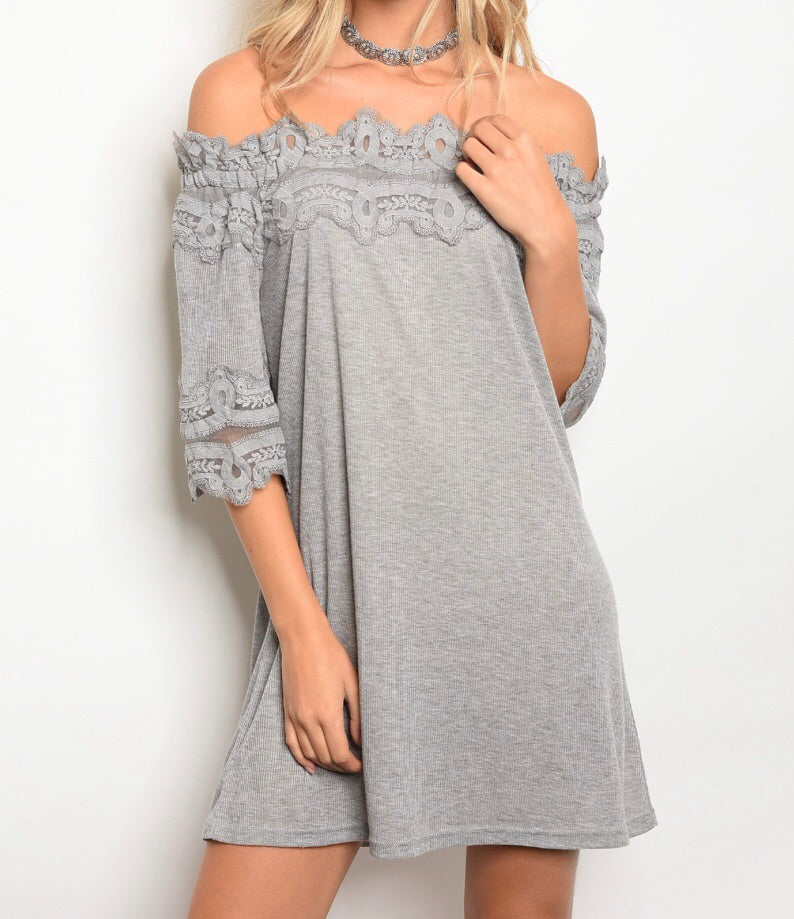 Gray Off The Shoulder Dress