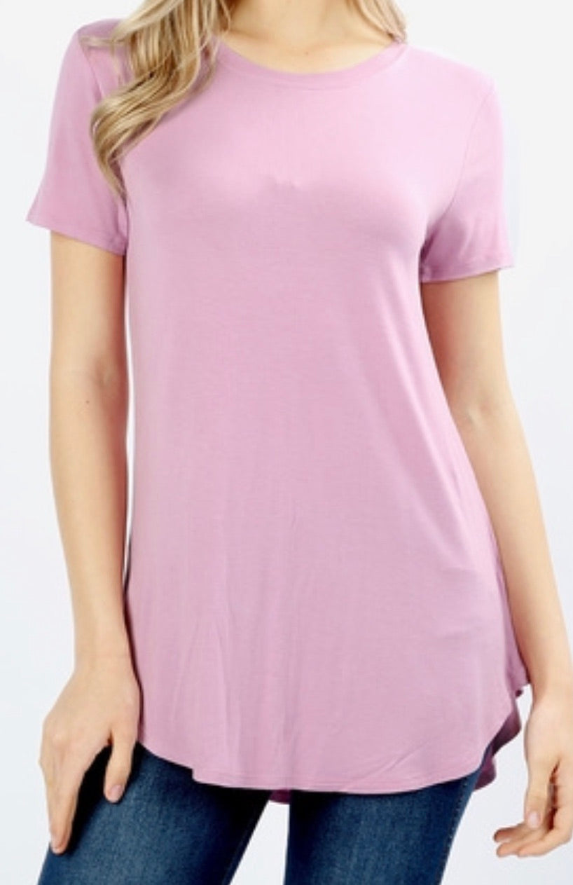 Short Sleeve Round neck T-Shirt in Mauve