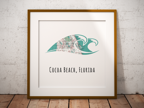 Rip Curl Wave Beach Map Print, Cocoa Beach Florida Map, Map Art, Travel Gift, Birthday Gift Art, Wedding Gift, Gift for Couple