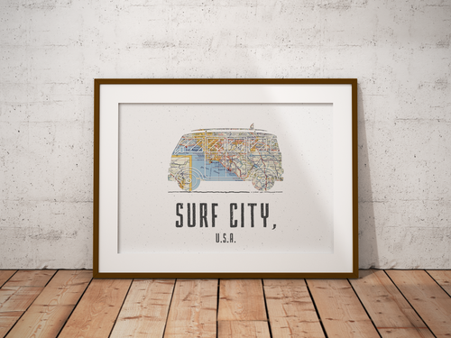 VW Van Beach Map Print, Huntington Beach Map, Surf City USA Map Art, Travel Gift, Birthday Gift Art, Wedding Gift, Beach Map Art