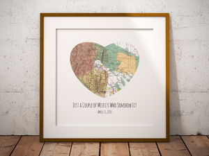 Heart Puzzle Print, 2 Personalized Maps Print, Custom Map Art, Anniversary Gift Art, Personalized Wedding Print, Gift for Couple