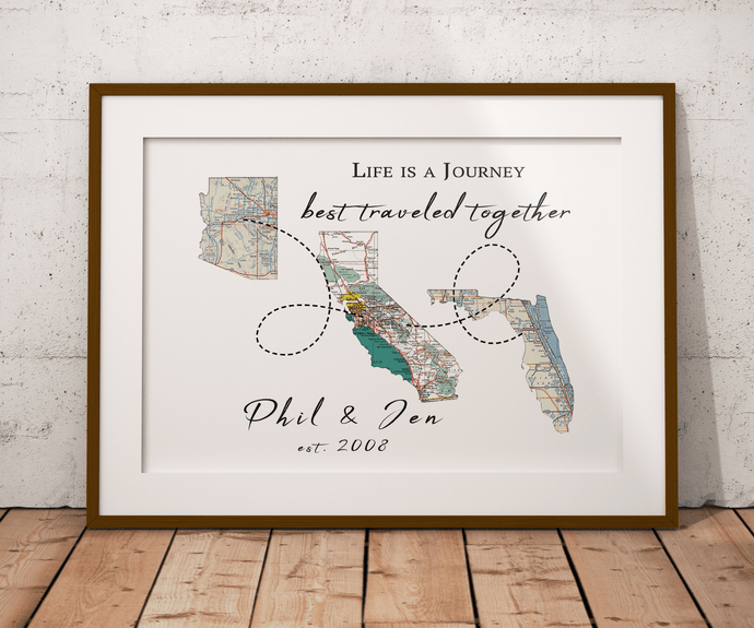 Life is a Journey Personalized 3 States Map Print, 3 Countries Custom Map Print, Family Travel Map Print, Long Distance Relationship Map Art