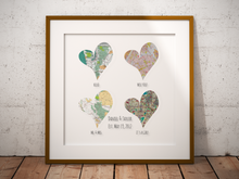 Four Hearts Print, 4 Personalized Heart Maps Print, Custom Map Art, Anniversary Gift Art, Personalized Wedding Print, Gift for Couple