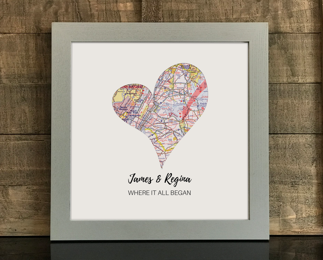 Heart Print, 1 Personalized Heart Map Print, Custom Map Art, Anniversary Gift Art, Personalized Wedding Print, Gift for Couple