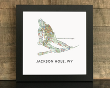 Skier Map Print, Jackson Hole WY Map, Custom Map Art, Travel Gift, Birthday Gift Art, Personalized Wedding Print, Gift for Couple