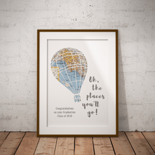 Oh the places you'll go Balloon Print, Dr Suess Custom Map Art, 1 Map Hot Air Balloon Art, Baby Nursery Decor, Personalized Graduation Gift