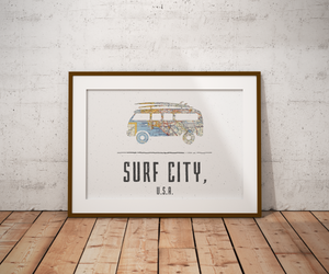 VW Bus Beach Map Print, Huntington Beach Map, Surf City USA Map Art, Travel Gift, Volkswagen, Birthday Gift Art, Wedding Gift, Beach Map Art
