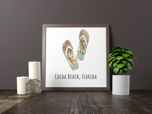 Flip Flops Beach Map Print, Cocoa Beach Florida Map, Map Art, Travel Gift, Birthday Gift Art, Wedding Gift, Gift for Couple, Home Decor