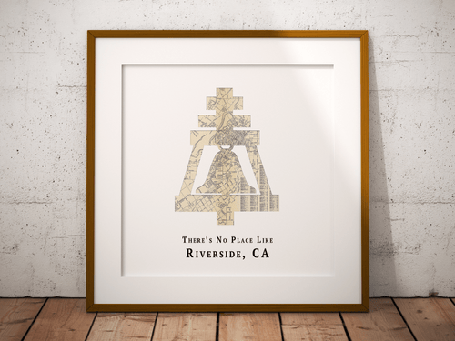 Riverside Raincross Map Print, Riverside California Map Art, Raincross Bell Art, Travel Gift, Custom Map Art, Personalized Wedding Print