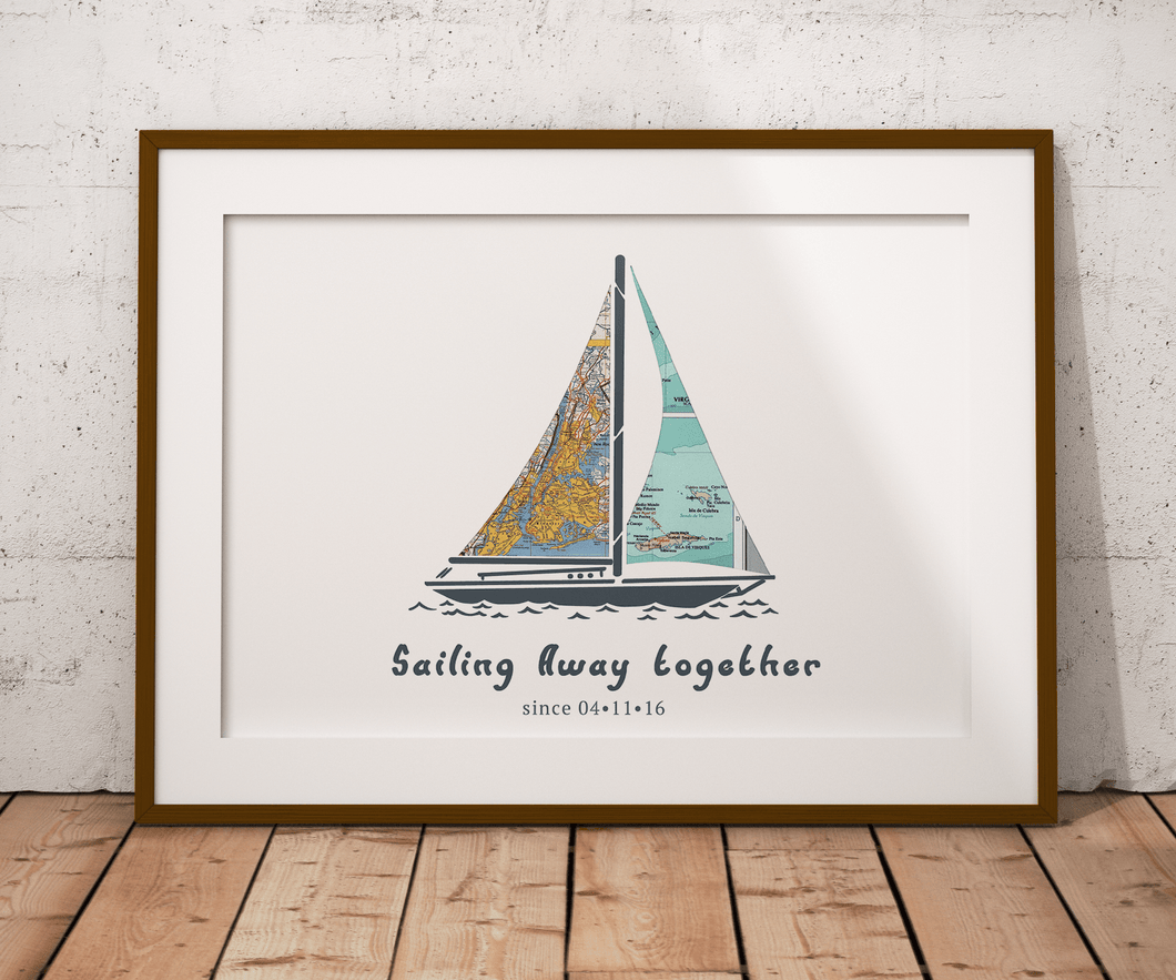 Come Sail Away Personalized Map Print, Custom Map Art, Travel Gift, Anniversary Gift Art, Personalized Wedding Print, Gift for Couple
