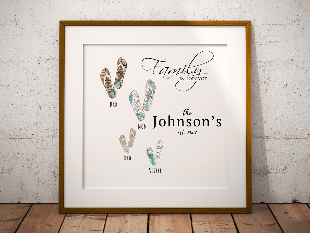 Family is Forever Flip Flops, Beach Sandals Family Personalized Map Art, Custom Family Print, Travel Gift, Personalized Anniversary Gift Art