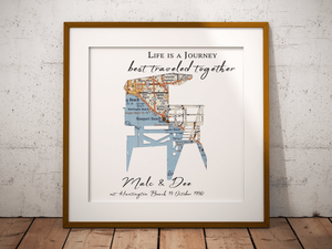 Lifeguard Tower Personalized Map Print, Custom Beach Art, Beach Map Art, Custom Map Art, Anniversary Gift Art, Personalized Wedding Print