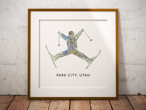 Yard Sale Ski Map Print, Park City Utah Map, Custom Map Art, Travel Gift, Birthday Gift Art, Personalized Wedding Print, Gift for Couple
