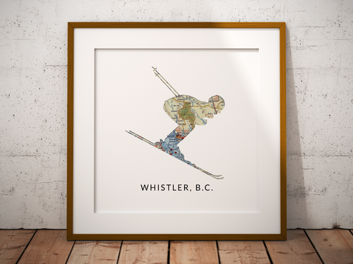 Downhill Skier Map Print, Whistler BC Map, Custom Map Art, Travel Gift, Birthday Gift Art, Personalized Wedding Print, Gift for Couple