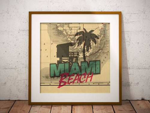 Miami Beach Map Print, Miami Beach Florida Map, Map Art, Famous Lifeguard Tower and Palm Tree, Travel Gift, Birthday Gift Art, Wedding Gift